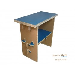 Meuble carton, bureau debout bleu