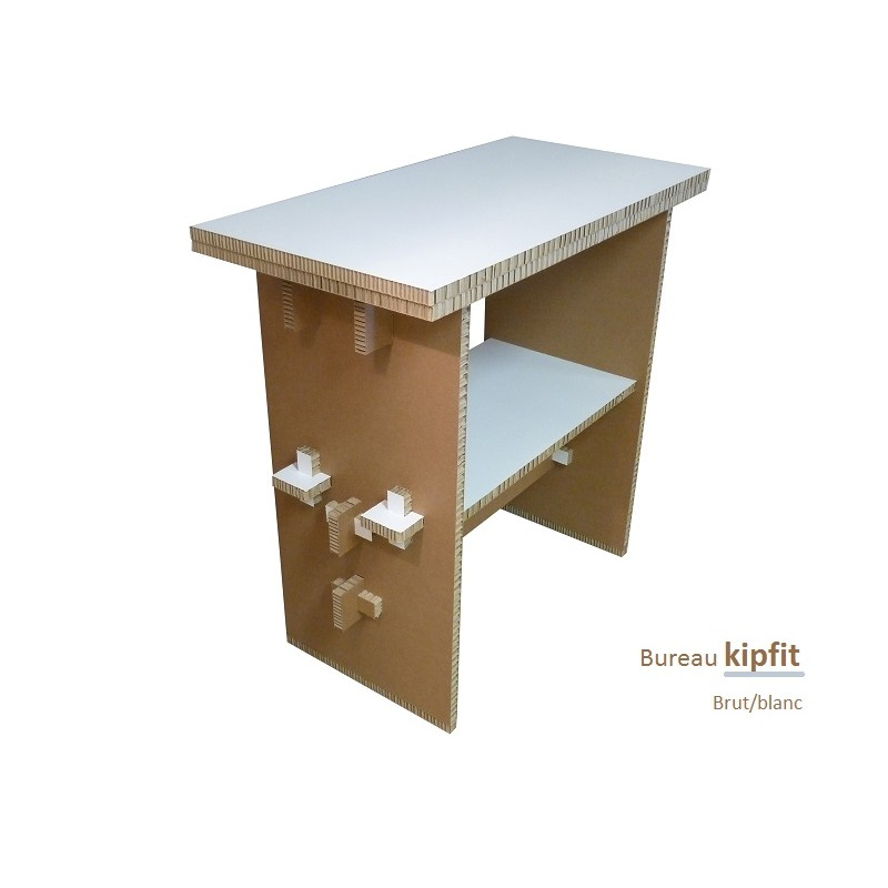 Meuble carton, bureau debout blanc