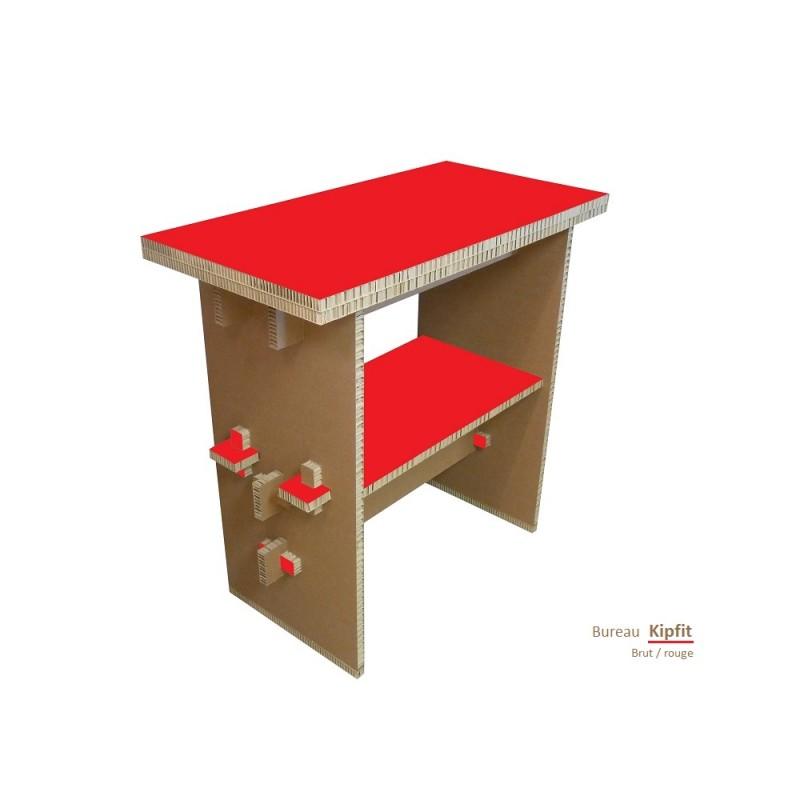 Meuble carton, bureau debout rouge